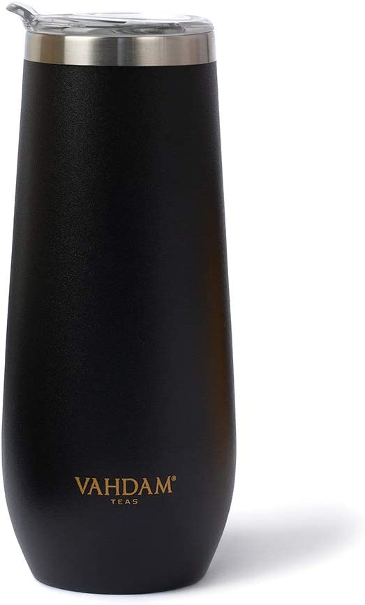 VAHDAM Caper Tumblr (270 ml/ 9.1 oz) - BLACK Reusable Water Tumbler | Sweat-proof, 18/8 Stainless Steel Bottle | Carry Hot & Cold Beverage | ECO-FRIENDLY & SUSTAINABLE Workout Sipper
