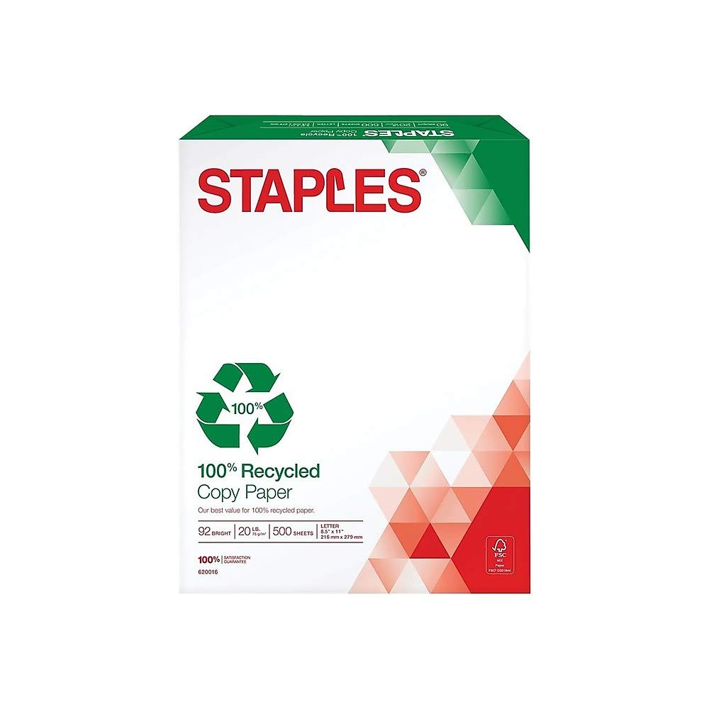 Staples 100% Recycled Copy Fax Laser Inkjet Printer Paper, Bright White, 500 Sheets by STAPLES