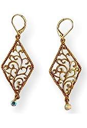 Fashion Earrings Dangle Diamond Shape Filigree with Dangling Stone Antique Gold Tone Metal