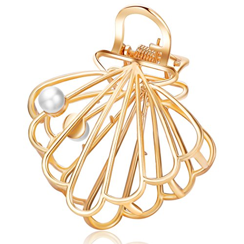 ACCGLORY Gold Hair Claw Vintage Hollow Metal Hair Jaw Clips for Women and Girls (Shell-Gold)