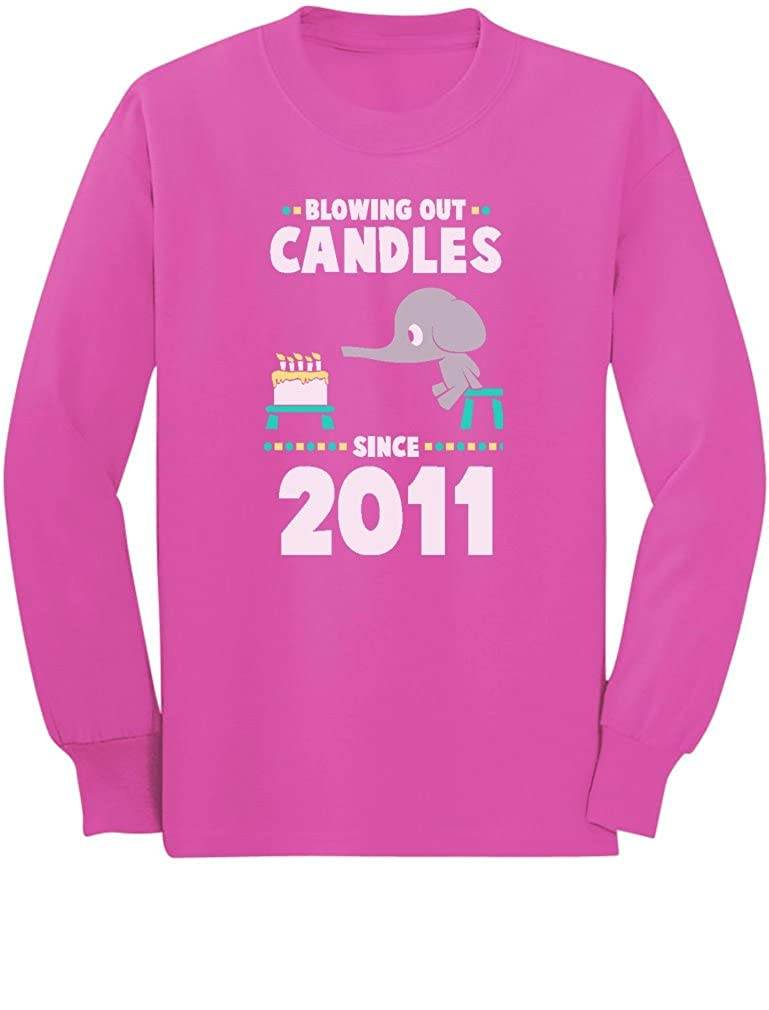 6th Birthday Blowing Out Candles Since 2011 Toddler//Kids Long Sleeve T-Shirt 5//6 Pink