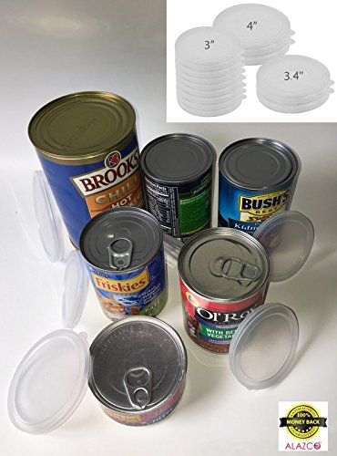 ALAZCO 18pc BPA-Free Can Covers - 3 Large 3 Medium 12 Small Plastic Tight Seal Lids for Canned Goods or Pet Dog Cat Food Food Saver Reusable