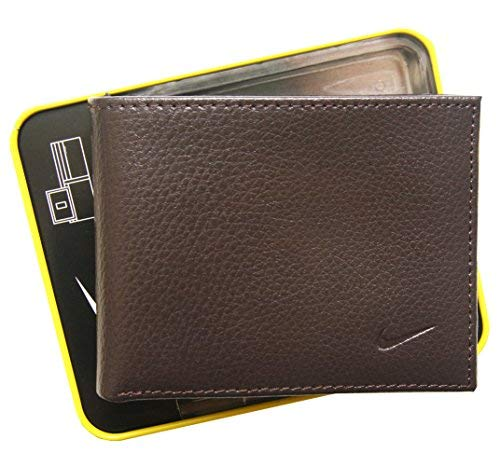 Nike Men's Genuine Leather Pebble Passcase Wallet (One size, Brown)