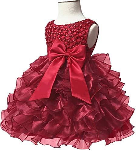 Jup'Elle Little Baby Girl Dress Flower Ruffles Party Wedding Pageant Princess Burgundy -