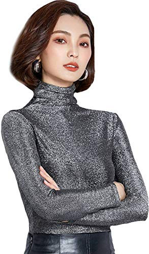 Ababalaya Women's Retro Basic Turtleneck Glitter Long Sleeve Slim Fit Blouse Top,Silver,Tag 2XL = US Size 6