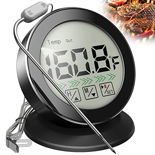 U UZOPI Meat Thermometer - Food Thermometer with Stainless Steel Probe for Grilling and Cooking, BBQ, Oven, Kitchen Timer with Alarm, Large LCD Screen