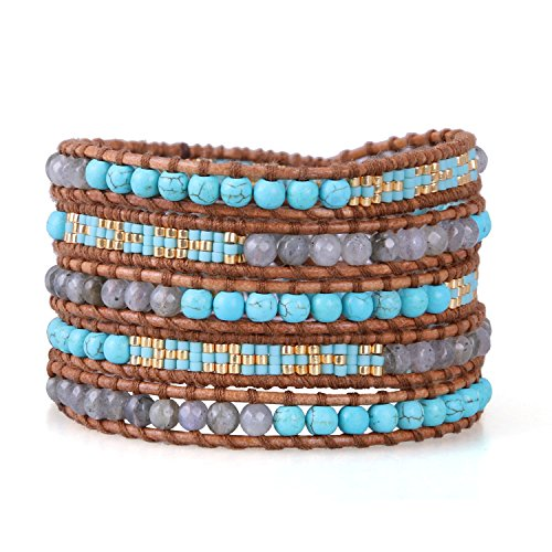 KELITCH Agate Wrap Bracelets for Women Mix Synthetic-Turquoise Woven Braided Bracelet on Brown Leather