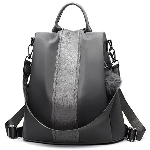 Zipped Compact Wallet - Women Backpack Purse Waterproof Nylon Anti-theft Rucksack Lightweight Shoulder Bag (Gray)