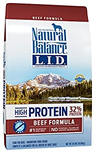 Natural Balance Limited Ingredient Diets High Protein Dry Dog Food, Beef Formula, Grain Free, 24-Pound
