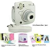 CAIUL 4 in 1 Fujifilm instax Mini 25 26 Instant Camera Accessories Bundles (White Mini 25 Case/ Close-Up selfie Lens/ Colorful Film Frame/ Film Stickers)
