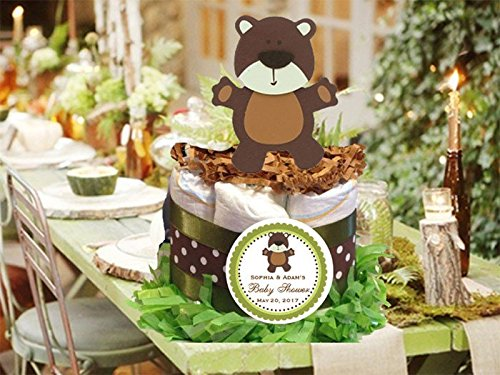 (Forest Friends Woodland Creatures TEDDY BEAR baby shower mini diaper cakes centerpieces )