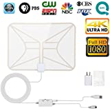 TV Antenna, 2018 Newest Indoor Digital HDTV Antenna 4K 1080P 60-80 Miles Range With Adjustable Signal Amplifier (Short Or Long Range), USB Power Supply and 16.4 Ft Coax Cable