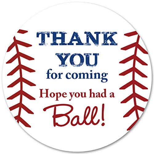 40 cnt Baseball Favor Thank You Stickers - Birthday Favor Stickers ... -