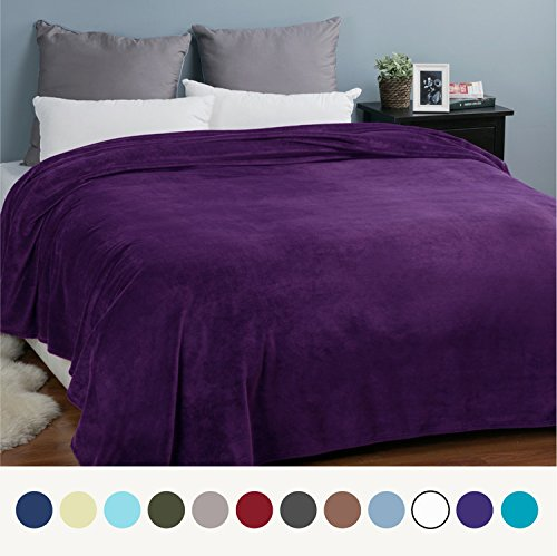 Flannel Fleece Luxury Blanket Purple Queen Size Lightweight Cozy Plush Microfiber Solid Blanket by Bedsure (Purple Flannel Fabric)