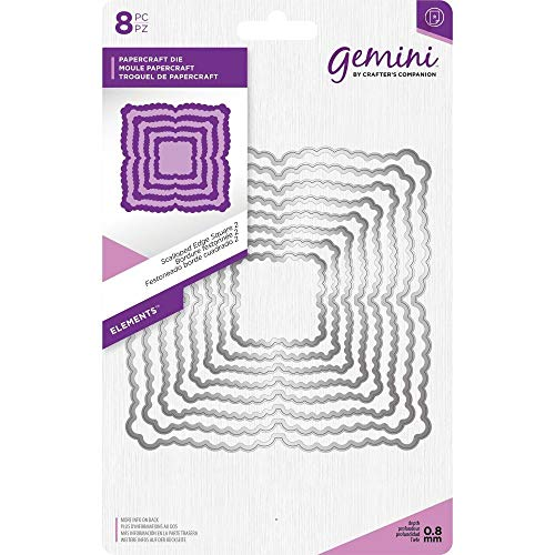 (Crafter's Companion Gemini - Elements Die Set - Scalloped Edge Square 2 (8pcs))