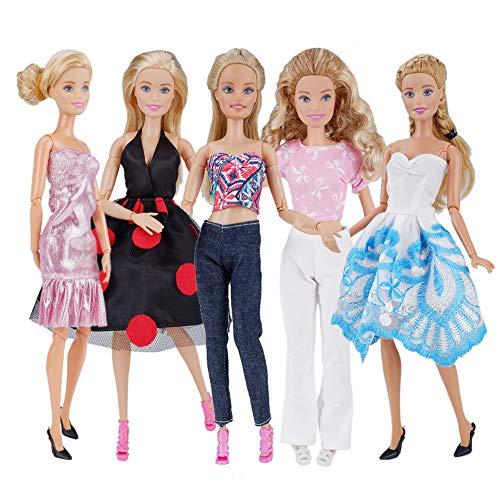 E-TING 5 Sets Fashion Casual Wear Clothes Outfit Party Dress for Girl Doll