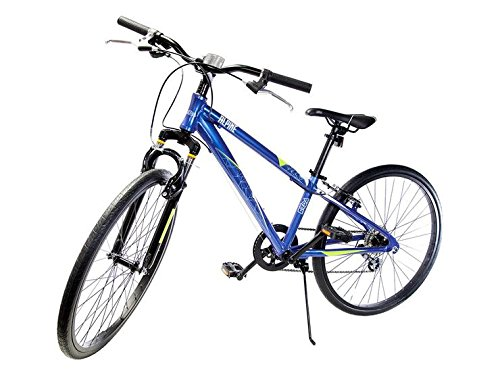Ryda Bikes Alpine - 24'' Blue Youth Unisex Mountain Bike - 8 Speed All Purpose Bicycle for Kids and Teens with Flat Proof Tires