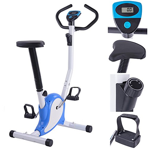 GHP Black 7-Level Adjustable Seat Height Fitness Multi-Resistance Exercise Bike Globe House Products
