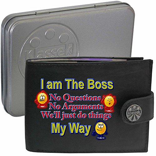 I am the boss Ich bin der boss Klassek Herren Geldbörse Portemonnaie Brieftasche Lustig Witz aus echtem Leder schwarz Geschenk Präsent mit Metall Box