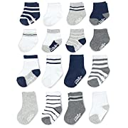 Goldbug Baby Boys 16-Pack Multi Size Socks, Crew, Stripes/Grey, White, Navy, 0-3 and 3-12 Months