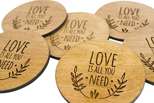 "Stained Wedding Coasters - Love Is All You Need - 4 3.5"" Round Engraved Birch Wood Table Decor"