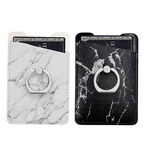 (Two Pack Phone Card Holder with Ring uCOLOR Black White Marble PU Leather Wallet Pocket Credit Card ID Case Pouch 3M Adhesive Sleeves Sticker Grip Kickstand Compatione with iPhone Xs XR 7 8 Plus)