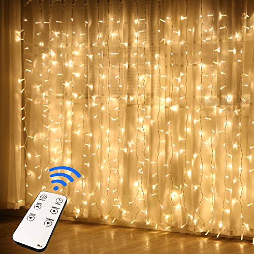 JMEXSUSS Remote Control 300 LED Window Curtain String Light for Wedding Party Home Garden Bedroom Outdoor Indoor Wall Decorations (Warm White) from JMEXSUSS