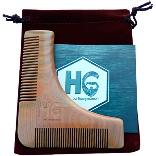 HoogaGoods HG Sandalwood Beard Guide Comb and Shaping Tool Template for Men Plus Carrying Bag (Brown, 4.7 by 4 inches, Set of 1 plus users guide). Perfect Tool for Different - Shapes For Different Styles Face Beard