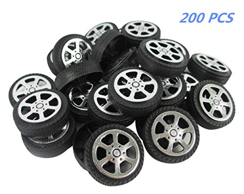 Toy Plastic Wheels - BaiJia Plastic Roll 2mm Dia Shaft Car Truck Model Toys Wheel 30x 9mm (200 PCS)