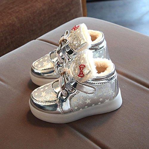 JIANGFU Kinder leichte Schuhe und dicke Baumwolle, Kleinkind-Baby-Art- und Weisesnowers-Stern-leuchtendes Kind-zufällige bunte helle Schuhe Sliver