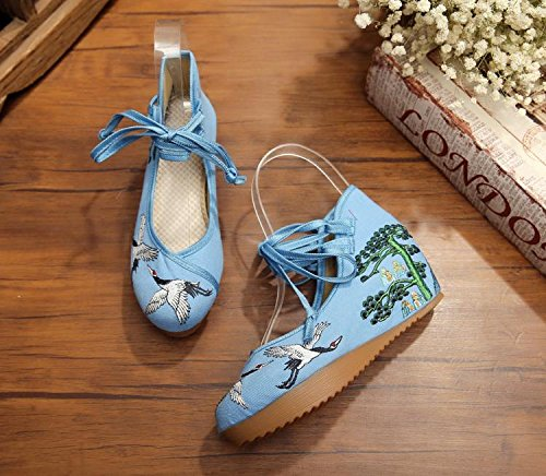 GuiXinWeiHeng c¨®modo estilo xiuhuaxie manera bordados ocasional blue lenguado femeninos ¨¦tnico del lino tend¨®n Zapatos aumentados zapatos rrfxaA