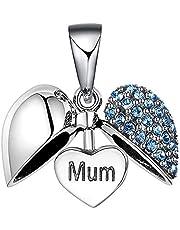Lovans 925 Sterling Silver I Love You Heart Crystal Charm for DIY Bracelet