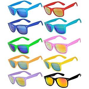 10 Ten Classic Vintage Full Mirror Lens Sunglasses Colored Frame Matte Retro (10pairs, Mirror)