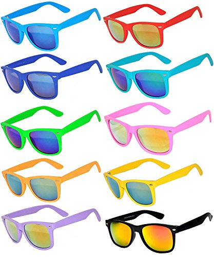 10 Ten Classic Vintage Full Mirror Lens Sunglasses Colored Frame Matte Retro (10pairs, ()