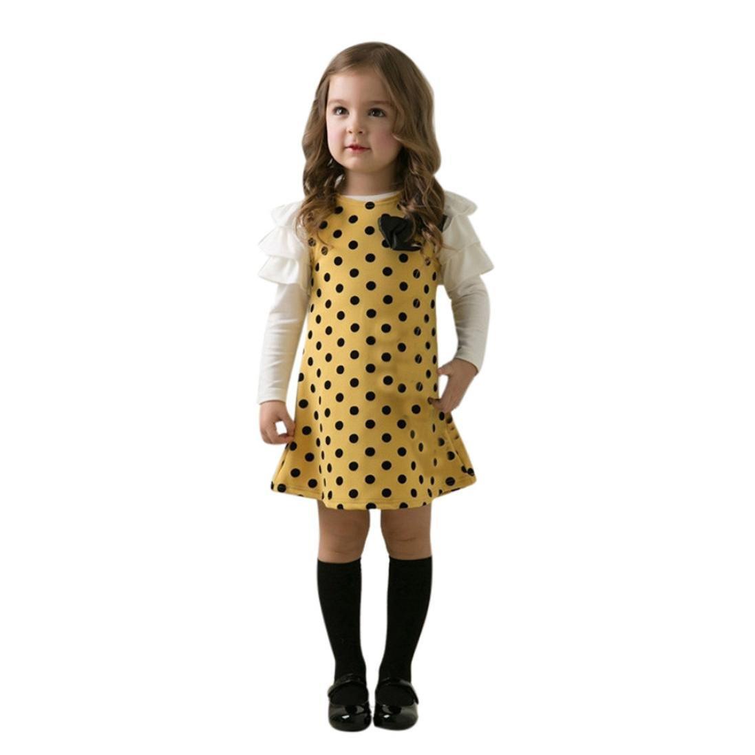 Sumen Kids Baby Girls Polka Dot Bow O-Neck Long Sleeve Princess Dress bessky