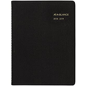 AT-A-GLANCE 2018-2019 Academic Year Weekly Planner/Appointment Book, Large, 8-1/4 x 10-7/8, Black (7095705)