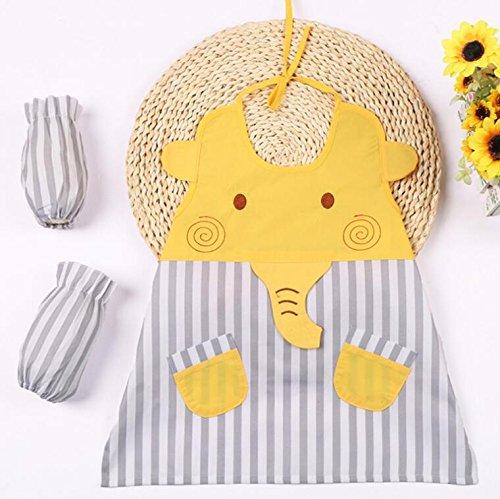 Gperw Dura qualità d'uso Grembiuli per Bambini con Grembiule Stampato con Elefanti per Cucinare (Grigio)