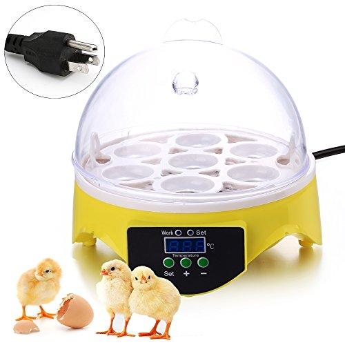 Mini 7 Egg Hatcher Incubator with Temperature Control, Digital Poultry General Purpose Incubators for Chickens Ducks Birds