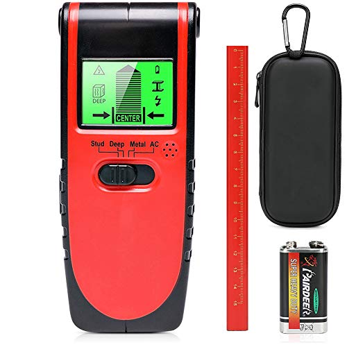 Stud Finder Wall Sensor Scanner,4 in 1 Electrical Multi Function with Lcd Display and Sound Warning for Wood Center Stud Sensor Live AC Wire Metal Studs Detector with Hard Carry Case and Level Pencil