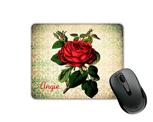 Vintage Red Rose Damask Overlay (Angie) Custom Monogram Name (SQUARE) Mouse Pad