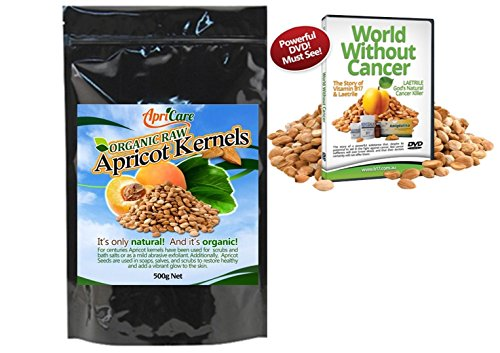 ApriCare BITTER CERTIFIED ORGANIC RAW APRICOT KERNELS 500g (17oz/1 Pound) FREE DVD BUNDLE. Rich in Vitamin B17