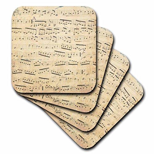 3dRose cst_120273_1 Grunge Musical Notes Vintage Sheet Mu...