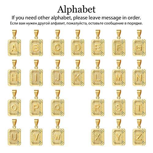 7d55749b1dba6 Trendsmax Square Capital Initial Letter A-Z Charm Pendant Necklace ...
