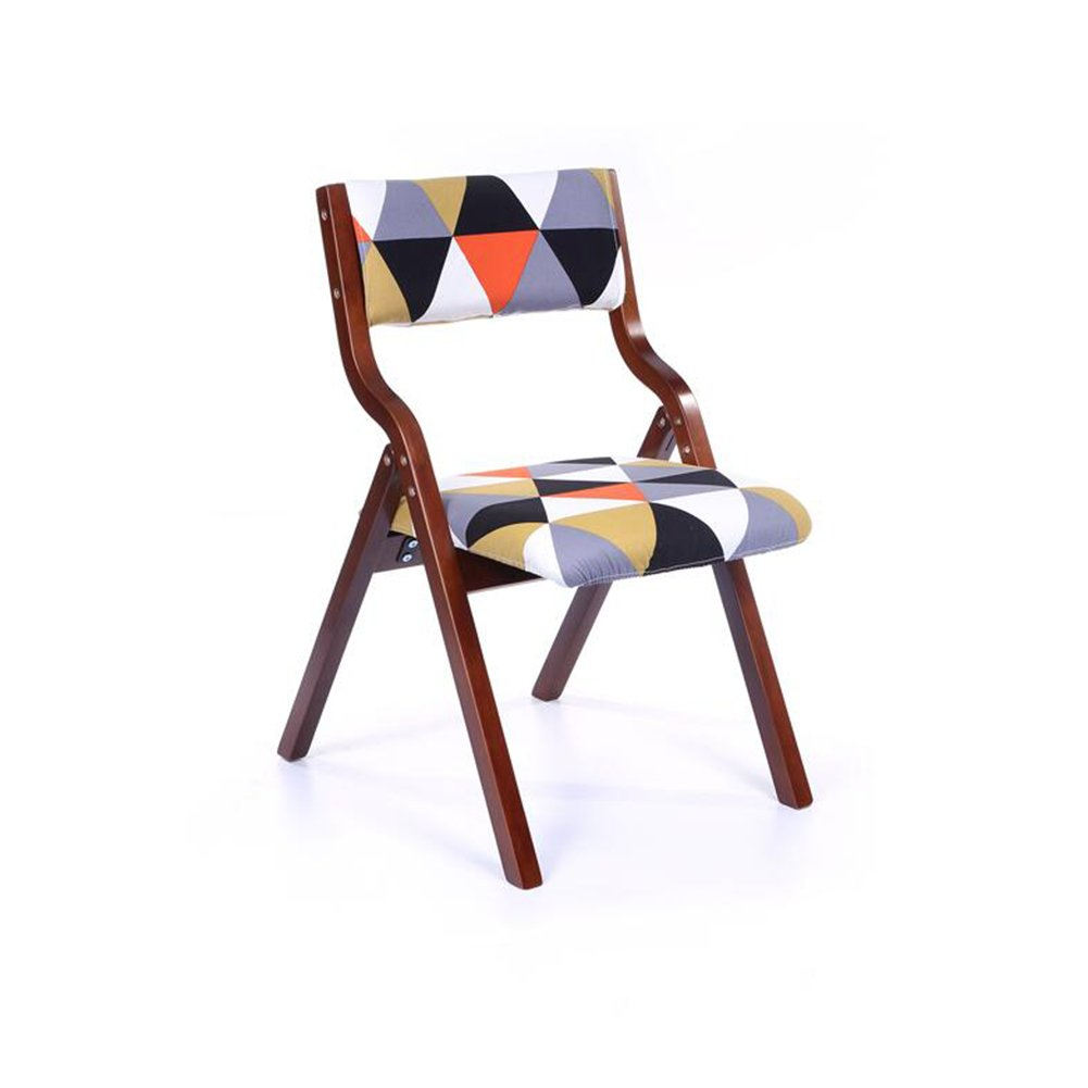 G FENGFAN Folding Chair Brown Wood Backrest Chair Soft Cushion Cloth Bedroom Desk Chair Cafe (color   G)