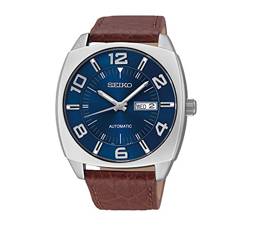 Seiko-Mens-Blue-Dial-Brown-Leather-Strap-Automatic-Watch
