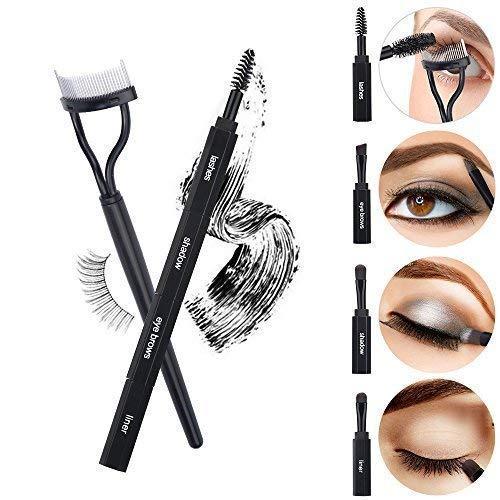 Clearance Sale - Miss Gorgeous Eye Makeup Brushes 4 IN 1 Multifunction, Portable EyeShadow Eyebrows Eyelashes Eyeliner Brush Set With Eyelash Comb Curler Tool (Black)