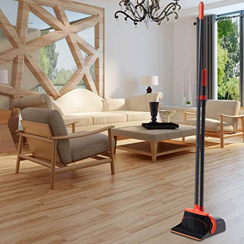 Broom and Dustpan Set, Dustpan and Broom Set, Long Handle Broom with Dustpan, Broom and Dustpan Combo for Office Home Kitchen Lobby Floor Use,Upright Standing Dustpan Broom Set