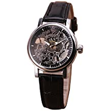 TOP SALE Women Leather strap Black Antique Vintage Automatic Mechanical Wristwatch Luxury Hollow-out Skeleton Lady Gift + BOX