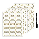 Nardo Visgo Transparent Clear Stickers Labels with Gold Border,Removable Waterproof Transparent Jars Labels in Assorted Sizes for Jars,Storage Containers or Craft Decoration,93pcs