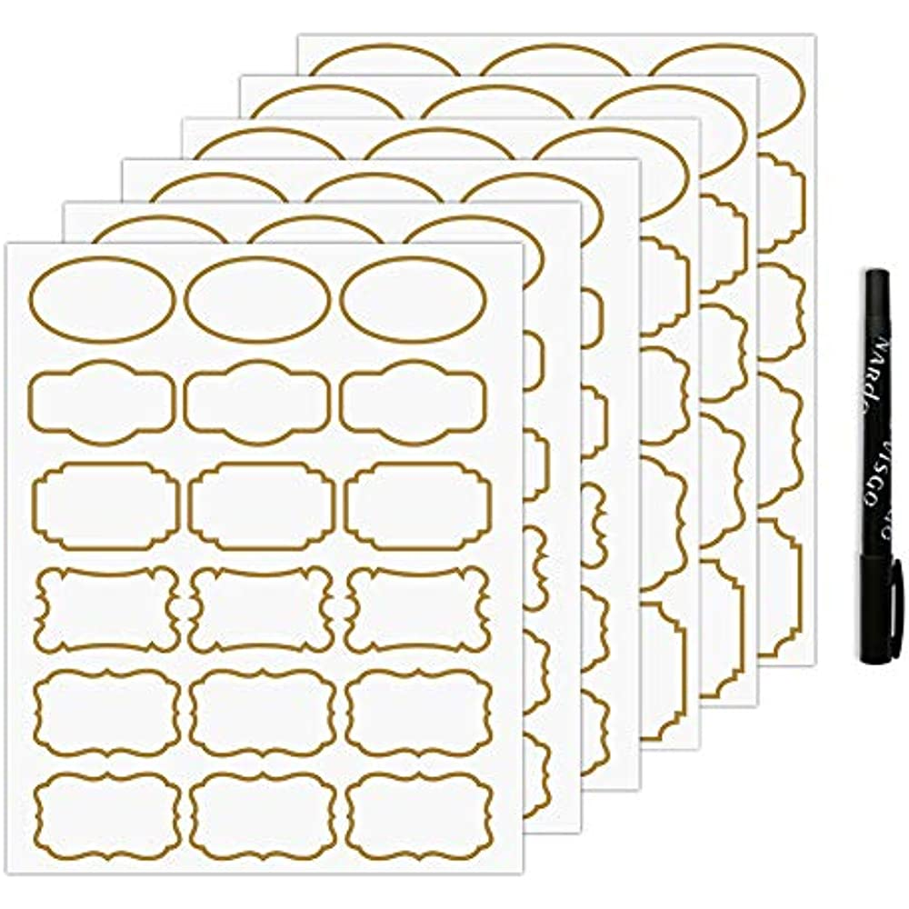 Details about transparent seals stickers clear labels with gold border removable waterproof